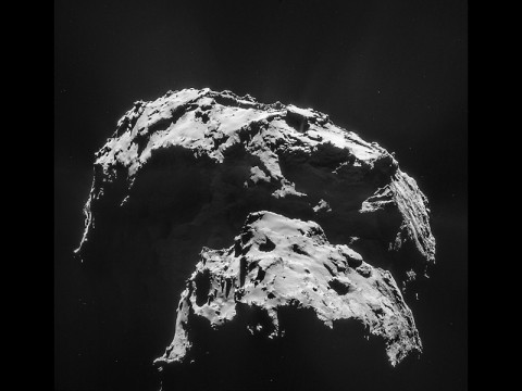 Comet 67P/Churyumov-Gerasimenko is seen here in an image captured by the Rosetta spacecraft. The mission's Philae lander hit the surface with a big bounce, demonstrating the comet's surface is hard. (ESA/Rosetta/NAVCAM)