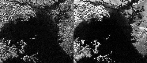 Presented here are side-by-side comparisons of a traditional Cassini Synthetic Aperture Radar (SAR) view and one made using a new technique for handling electronic noise that results in clearer views of Titan's surface. (NASA/JPL-Caltech/ASI)