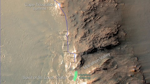 In February 2015, NASA's Mars Exploration Rover Opportunity is approaching a cumulative driving distance on Mars equal to the length of a marathon race. This map shows the rover's position relative to where it could surpass that distance. (NASA/JPL-Caltech/Univ. of Arizona)