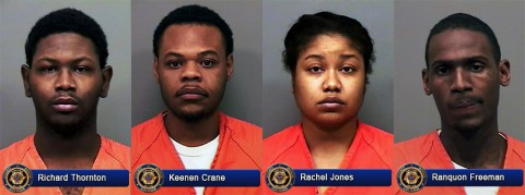 (L to R) Richard Thornton, Keenen Crane, Rachel Jones, and Ranquon Freeman were arrested by Clarksville Police for forgery.