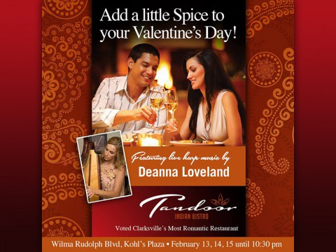 Clarksville's Tandoor Indian Restaurant to create that romantic atmosphere for you this Valentine's Day.