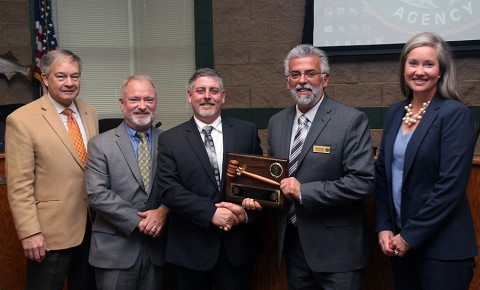 Jim Bledsoe (center) is the chairman of the Tennessee Fish and Wildlife Commission for 2015-16. He is pictured next to Jeff Griggs, of Lexington, who received a plaque of appreciation for his service as chairman of the TFWC the past year. Also pictured (from left) are Ed Carter, Executive Director of the Tennessee Wildlife Resources Agency, Harold Cannon, (second from left) of Lenoir City, who will serve as vice-chairman, and Jamie Woodson, of Lebanon, who will serve as TFWC secretary.