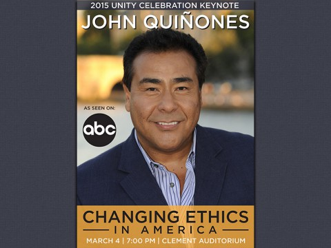 "John Quin?ones to give his presentation, ""What Would You Do? Changing Ethics in America"" at Austin Peay State University's Clement Auditorium on March 4th."