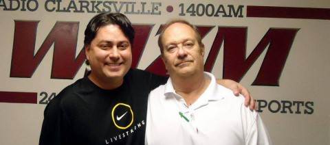 Gabe Segovia with Hank Bonecutter at the WJZM studios, Clarksville after a two hour interview about the discovery of his cancer.