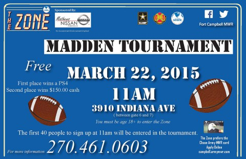 Mathews Nissan Madden Tournament at Fort Campbell's The Zone