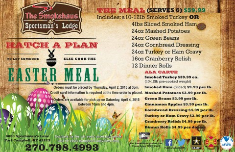 Fort Campbell's The Smokehaus offers Easter Take Out Meals
