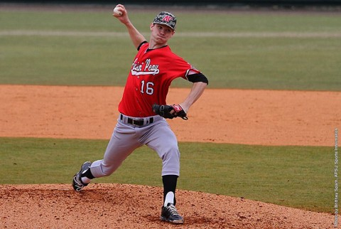 Austin Peay pitcher Jared Carkuff strikes out 10 against Eastern Illinois Monday. (APSU Sports Information)