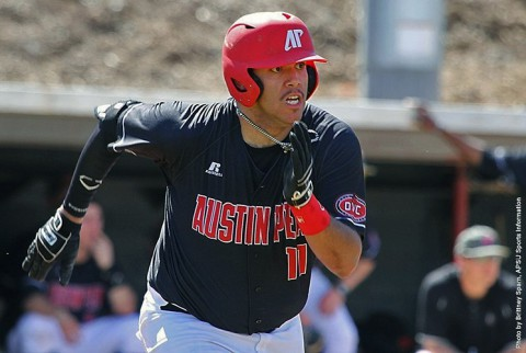 Austin Peay Baseball first baseman Dre Gleason hits a home run against Murray State. (APSU Sports Information)