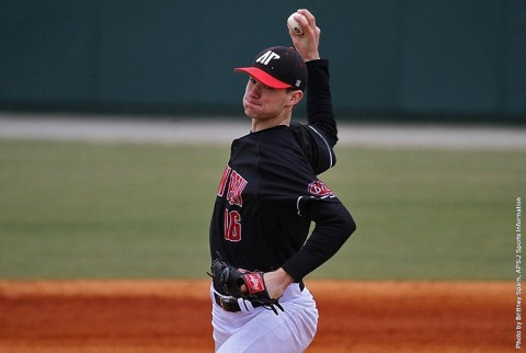 Austin Peay pitcher Jared Carkuff throws seven scoreless innings to power Govs to 11-0 victory over Middle Tennessee. (APSU Sports Information)