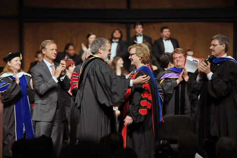 Tennessee Governor Bill Haslam applauds as Tennessee Board of Regents Chancellor John Morgan officially installs Dr. Alisa White as Austin Peay State University's 10th president. (Beth Liggett/APSU)
