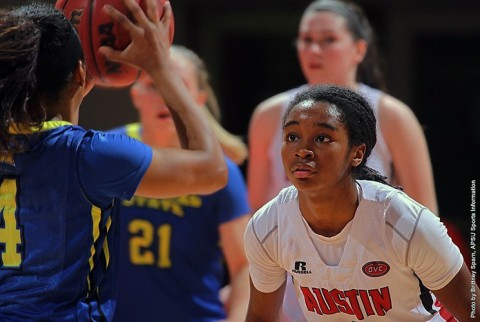 Austin Peay's Tiasha Gray named Ohio Valley Conference Defensive Player of the Year and First-Team All-OVC Tuesday night. (APSU Sports Information)
