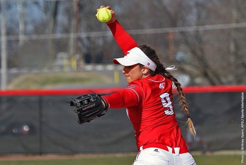 Austin Peay Softball's Natalie Ayala pitches five scoreless innings to power Lady Govs past Skyhawks. (APSU Sports Information)