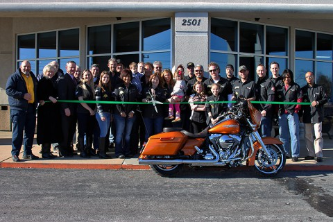 Clarksville-Montgomery County Green ribbon cutting for Appleton Harley Davidson.