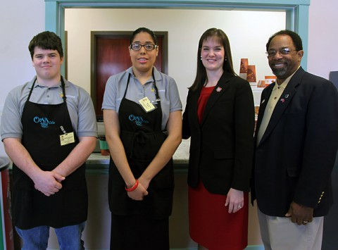 Two students participating in the Oasis Café program met with State Education Commissioner Candice McQueen and CMC School Board Chairman Jimmie Garland. (CMCSS)