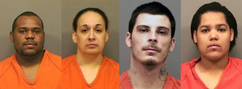 (L to R) Kevin Forman, Carol Williams, Lee Poe, and Sandra Murphy arrested for murder of a Clarksville woman.
