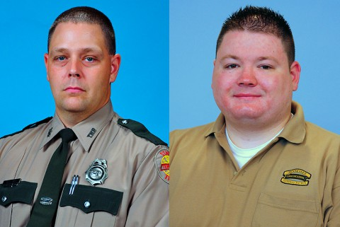 (L to R) Trooper Michael Sullivan is the 2014 Trooper of the Year and Andrew Lawson is 2014 Dispatcher of the Year.