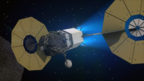 The Asteroid Redirect Vehicle, part of NASA's Asteroid Initiative concept, is shown traveling to lunar orbit using its solar electric propulsion system in this artist's concept. (NASA)