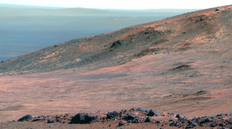 "This view from NASA's Opportunity Mars rover shows part of ""Marathon Valley"" as seen from an overlook north of the valley. It was taken by the rover's Pancam on March 13, 2015. (NASA/JPL-Caltech/Cornell Univ./Arizona State Univ.)"