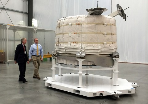 William Gerstenmaier, NASA's associate administrator for human exploration and operations, and Jason Crusan, director of the agency's advanced exploration systems division, view the Bigelow Expandable Activity Module at Bigelow's facility in Las Vegas on March 12th. (Stephanie Schierholz)