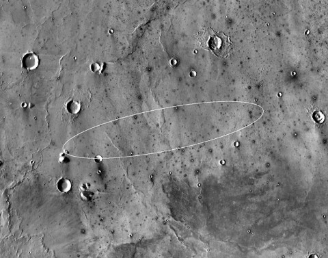This map shows the single area under continuing evaluation as the InSight mission's Mars landing site, as of a year before the mission's May 2016 launch. (NASA/JPL-Caltech)