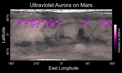 A map of IUVS's auroral detections in December 2014 overlaid on Mars' surface. The map shows that the aurora was widespread in the northern hemisphere, not tied to any geographic location. The aurora was detected in all observations during a 5-day period. (University of Colorado)