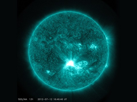 Solar flares – such as this one captured by NASA's SDO on July 12, 2012, are initiated by a phenomenon called magnetic reconnection. (NASA/SDO)