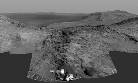 "Cumulative driving by NASA's Mars Exploration Rover Opportunity surpassed marathon distance on March 24, 2015, as the rover neared a destination called ""Marathon Valley,"" which is middle ground of this dramatic view from early March. (NASA/JPL-Caltech)"