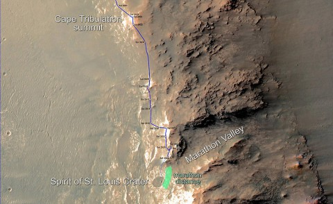 This map updates progress that NASA's Mars Exploration Rover Opportunity is making toward reaching a driving distance equivalent to a marathon footrace. (NASA/JPL-Caltech/Univ. of Arizona)