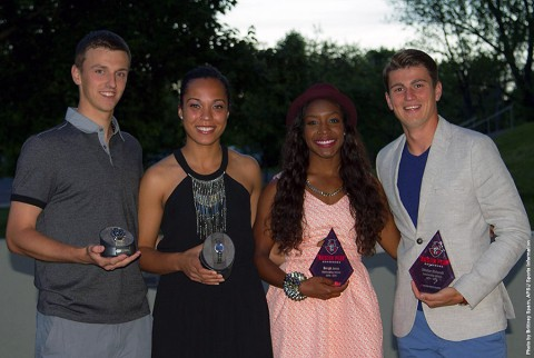 (L to R) Aleksas Tverijonas, Jada Stotts, Breigh Jones and Dimitar Ristovski earn top awards at Austin Peay Athletic Banquet. (APSU Sports Information)