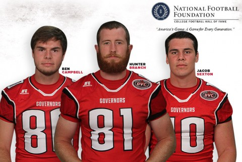 Austin Peay punter Ben Campbell, wide receiver Hunter Branch and h-back/tight end Jacob Sexton earn National Football Foundation Society honors. (APSU Sports Information)