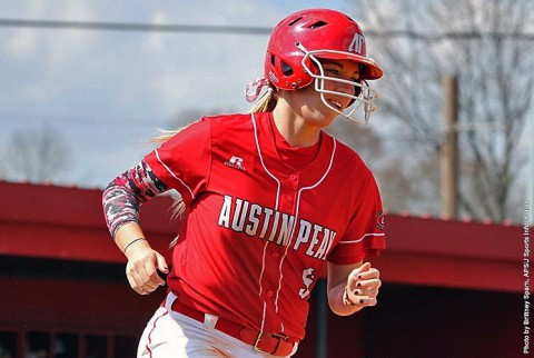 Austin Peay senior Laurel Burroughs' hits two run homer to power Lady Govs past Northern Kentucky in Game 1. (APSU Sports Information)