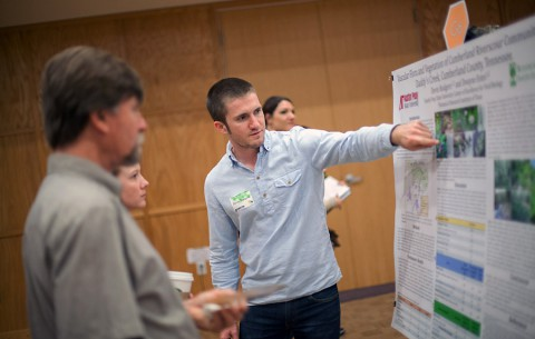 Students present their academic research posters at the OUR Research and Creativity Forum at Austin Peay State University, on Friday, April 17th, 2015. (APSU's Taylor Slifko)