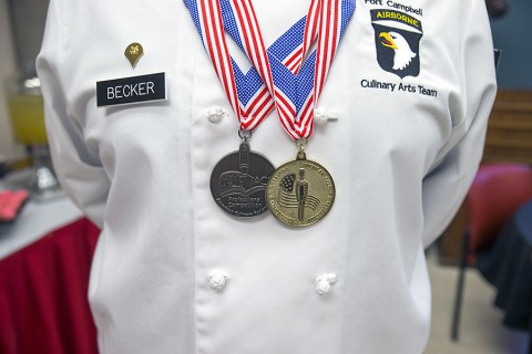 Members of the Fort Campbell Culinary Team are celebrated for their wins at the 40th Annual Military Culinary Arts Competitive Training Event during a special tasting event at the Austin Peay Center at Fort Campbell. (Beth Liggett, APSU)