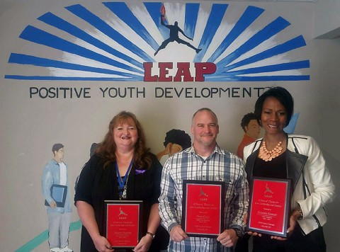 LEAP Organization recognized (L to R) Angela Hopkins, Pastor Steve Estep, and Yolanda Stewart for service as board members.