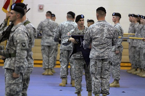 Second Brigade Combat Team, 101st Airborne Division (Air Assault) held an activation Ceremony for 1st Battalion, 26th Infantry Regiment April 14, 2015, at Freedom Fighters Gym at Fort Campbell, KY. (Courtesy Photo)