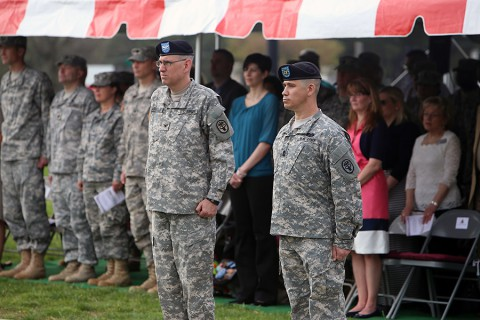 Assuming responsibility in a ceremony Thursday, Blanchfield's top NCO, Command Sgt. Maj. Thomas Sutphin, right, will serve as senior advisor to hospital commander Col. George N. Appenzeller, as well as directors and department chiefs. (U.S. Army photo by David E. Gillespie/RELEASED)