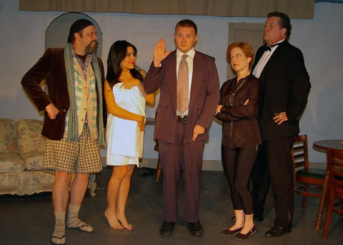 """Here Lies Jeremy Troy"" stars (L to R) Benny Jones, Ila Mae Avitia, Alex Syler, Denise Fuller, and Bill Colclough."