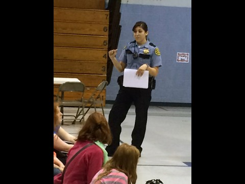 Jayme DeLaRosa speaks to children in the anti-bullying program.