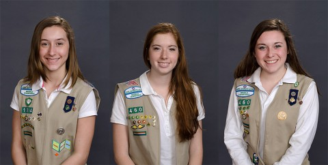 (L to R) Delaney Powell, Sydney Sabash and Natalie Wieber earn Girl Scout Gold Award.