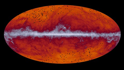 This map of the entire sky was captured by the European Space Agency's Planck mission. The band running through the middle corresponds to dust in our Milky Way galaxy. The black dots indicate the location of galaxy cluster candidates identified by Planck and subsequently observed by the European Space Agency's Herschel mission. (ESA and the Planck Collaboration/ H. Dole, D. Guéry & G. Hurier, IAS/University Paris-Sud/CNRS/CNES)
