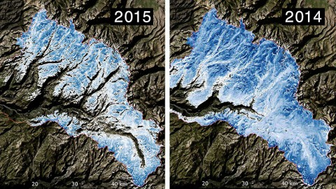 Spatial distribution of the total volume of water in the snowpack across the Tuolumne River Basin on March 25, 2015 (left) and April 7, 2014 (right) as measured by NASA's Airborne Snow Observatory. (NASA/JPL-Caltech)