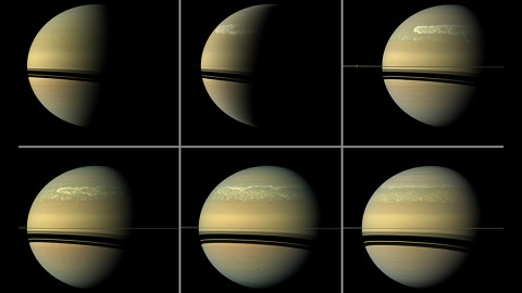 This series of images from NASA's Cassini spacecraft shows the development of a huge storm of the type that erupts about every 30 years on Saturn. (NASA/JPL-Caltech/SSI)