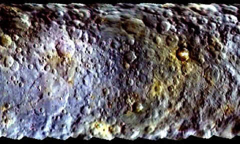 This map-projected view of Ceres was created from images taken by NASA's Dawn spacecraft during its initial approach to the dwarf planet, prior to being captured into orbit in March 2015. (NASA/JPL-Caltech/UCLA/MPS/DLR/IDA)