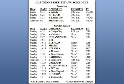 Tennessee Titans 2015 Schedule released