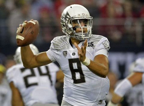 Oregon Ducks quarterback Marcus Mariota taken by the Tennessee Titans with the 2nd overall pick of the 2015 NFL Draft. (Kirby Lee-USA TODAY Sports)