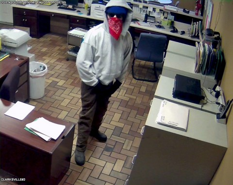 Clarksville Police Department is looking for the robbery suspect in this photo. Anyone with information is asked to call Detective Raymon Carrol at 931.648.0656 Ext. 5174 or call the CrimeStoppers TIPS Hotline at 931.645.TIPS (8477).