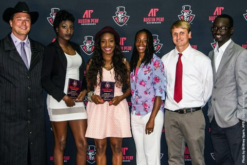 Austin Peay track and field sophomore jumper Kaylnn Pitts and junior sprinter Breigh Jones and sophomore jumper Kaylnn Pitts were named 2015 Ohio Valley Conference Outdoor Women's Co-Field and Track Athletes of the Year, respectively. (APSU Sports Information)