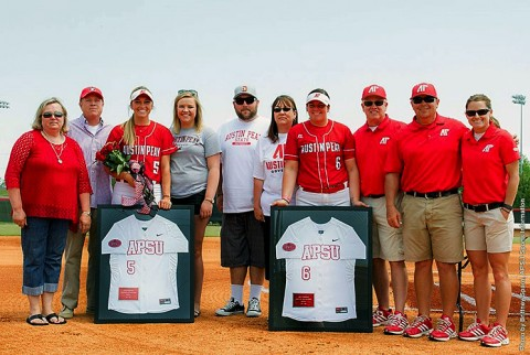 Austin Peay Softball's (L) Laurel Burroughs and (R) Ashley Eisenbraun were honored on Senior Day. (APSU Sports Information)