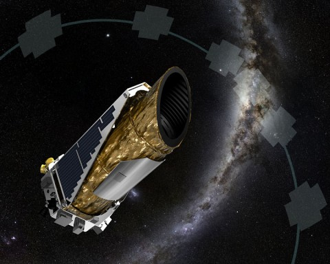 The artistic concept shows NASA's planet-hunting Kepler spacecraft operating in a new mission profile called K2. Using publicly available data, astronomers may have confirmed K2's first discovery of star with more than one planet. (NASA Ames/JPL-Caltech/T Pyle)