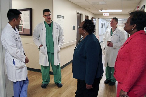 In a formal signing ceremony at Blanchfield Army Community Hospital Friday (May 29, 2015), Nashville's Meharry Medical College partnered with the Fort Campbell hospital for regular clinical rotations. (U.S. Army photo by Courtney Wittmann)